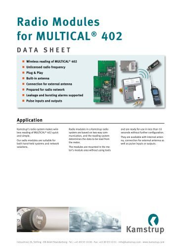 Radio Modules for MULTICAL® 402 DATA SHEET - Kamstrup