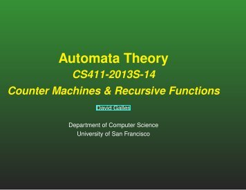 Automata Theory - Computer Science - University of San Francisco