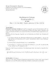 Kryptographie 2 - Lehrstuhl Kryptologie & IT-Sicherheit - Ruhr ...