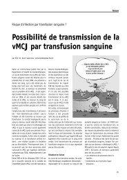 Possibilité de transmission de la vMCJ par transfusion sanguine