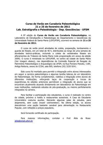 Curso de Verão em Curadoria Paleontológica 21 a 25 de fevereiro ...
