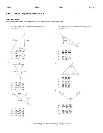 Worksheets Triangle Inequality Practice Worksheet 6 4 3 triangle inequality theorem investigation name date ch4 inequalities worksheet 1