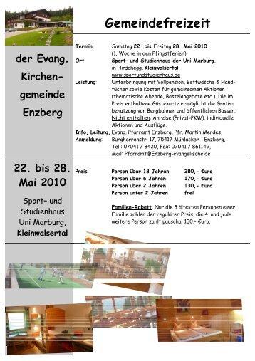 Flyer Gemeindefreizeit 2010 - Evangelische Kirchengemeinde ...