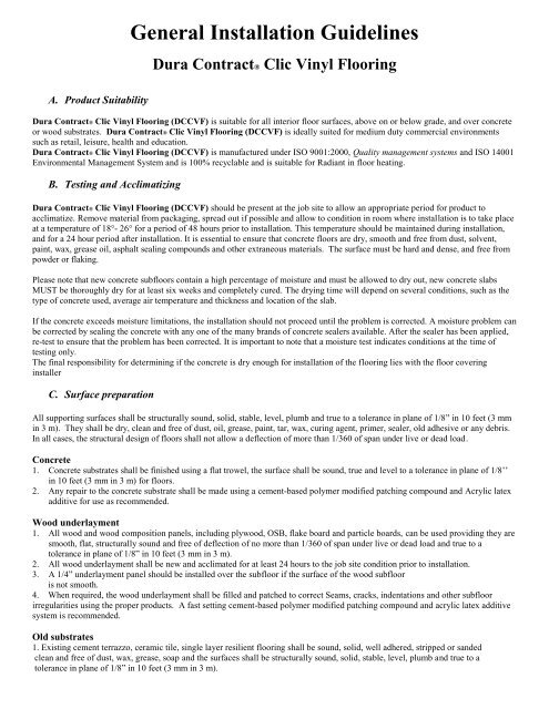 Dura Contract Clic General Installation