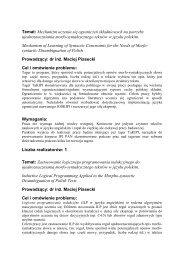 Tematy prac dyplomowych zgłoszone na rok 2008