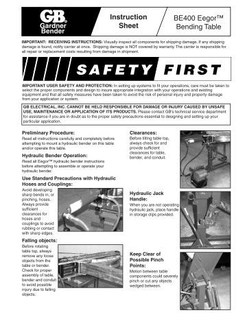 hydraulic pipe bender instructions