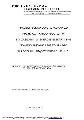 Projekt przyłącza Prądzyńskiego 115 - PGE Dystrybucja