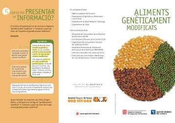 Els aliments genèticament modificats - Generalitat de Catalunya