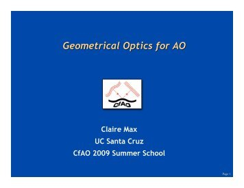 Geometrical Optics for AO - Center for Adaptive Optics