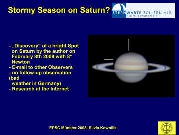 Stormy Season on Saturn? - Sternwarte Zollern-Alb Rosenfeld ...