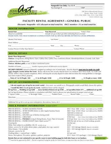 Rental Agreement New 2012pub Rome Art Community Center