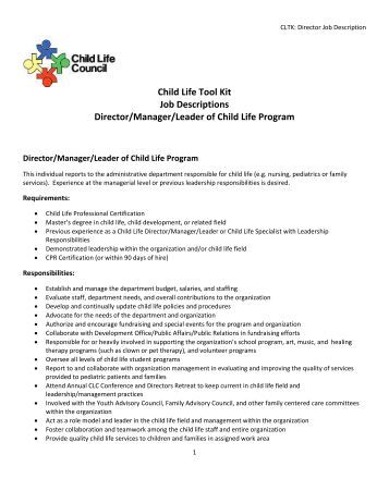child life tool kit job descriptions director child life council - Practice Director Job Description