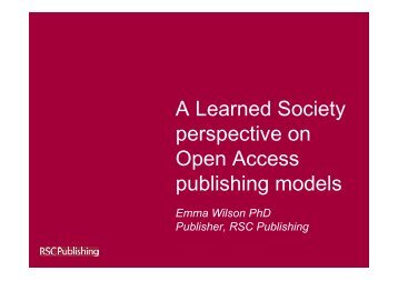 A Learned Society perspective on Open Access publishing models