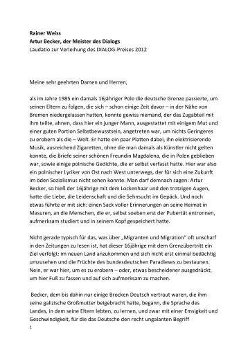Rainer Weiss Artur Becker, der Meister des Dialogs Laudatio zur ...