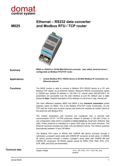 M025 Ethernet – RS232 data converter and Modbus RTU / TCP router