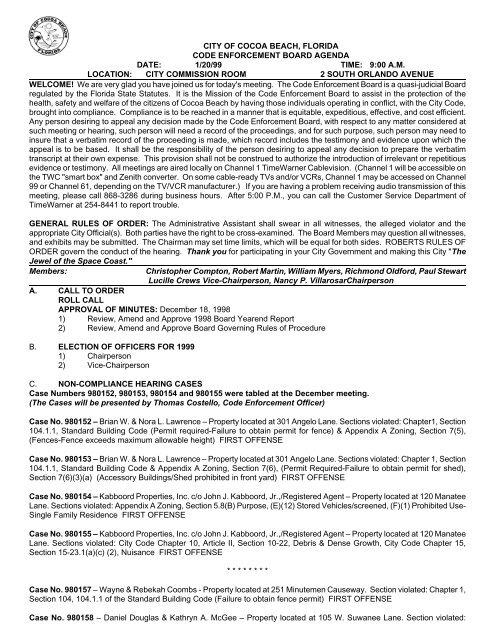 city of cocoa beach, florida code enforcement board agenda