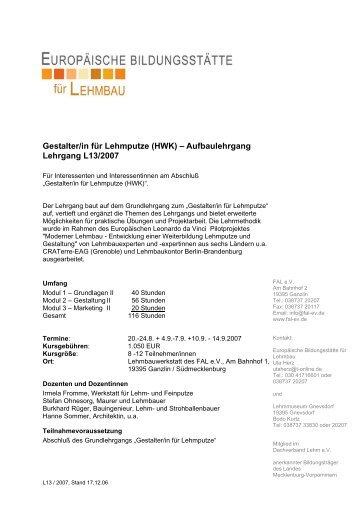 Lehrgang L1 - Dachverband Lehm e.V.