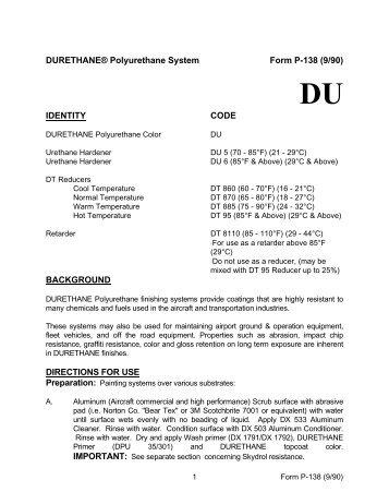 DURETHANE® Polyurethane System Form P-138 (9/90 ... - BAPS