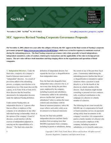 SEC Approves Revised Nasdaq Corporate ... - Fried Frank