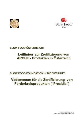 Leitlinien zur Zertifizierung von ARCHE - Produkten ... - Arche Austria