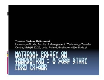 National Policy on Entrepreneurship and Innovation - South East ...