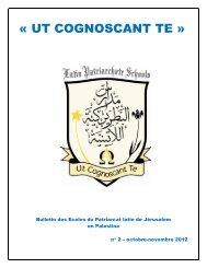 nouveau bulletin trimestriel - Patriarcat latin de Jérusalem