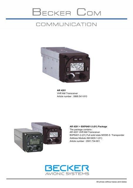 AR 4201 VHF/AM Transceiver Article number     - Becker com tw
