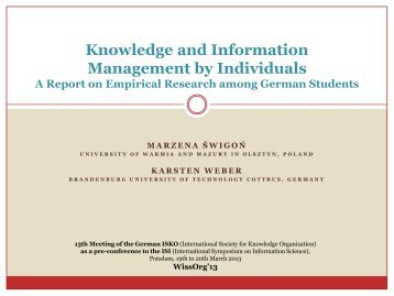 Knowledge and Information Management by Individuals - ISKO
