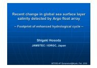Recent change in global sea surface layer salinity detected by Argo ...