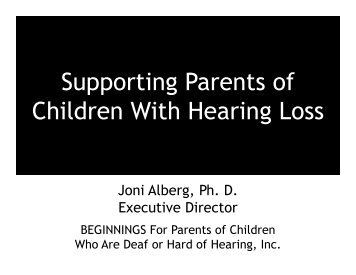 Supporting Parents of Children with Hearing Loss (PDF)
