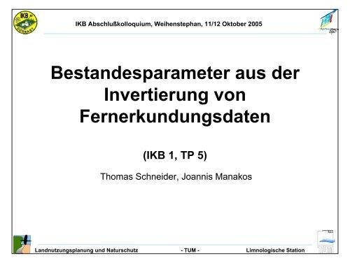 Bestandesparameter aus der Invertierung von Fernerkundungsdaten
