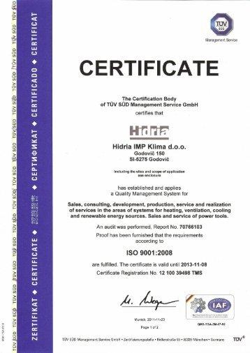 ISO 9001 Hidria IMP Klima (PDF - 1,56 MB)