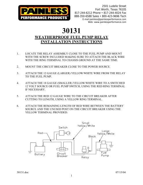 painless performance wiring diagram water pump weatherproof fuel pump relay installation instructions painless  weatherproof fuel pump relay