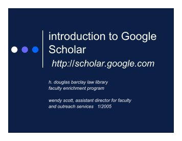 introduction to Google Scholar
