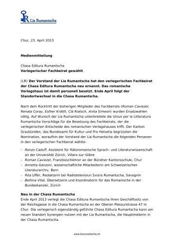 Chur, 23. April 2013 Medienmitteilung Chasa ... - Lia Rumantscha