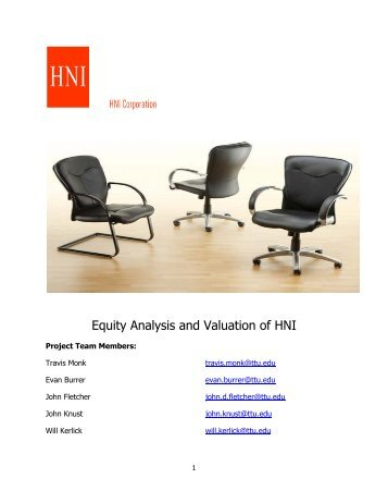 Equity Analysis and Valuation of HNI