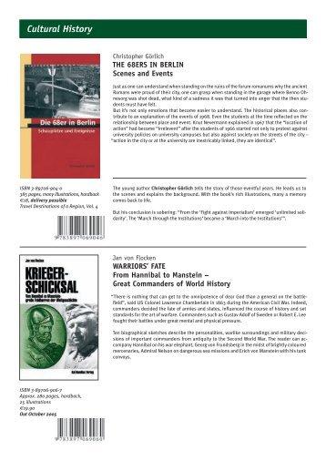 BACK CATALOGUE Cultural History - Kai Homilius Verlag