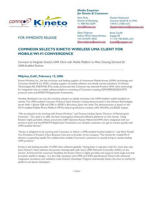 comneon selects kineto wireless uma client for mobile/wi-fi