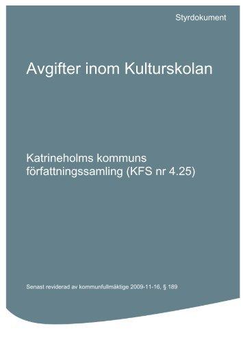 4-25 Avgifter inom Kulturskolan.pdf - Katrineholms kommun