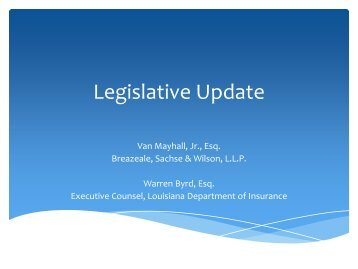 Legislative Update - Louisiana Department of Insurance