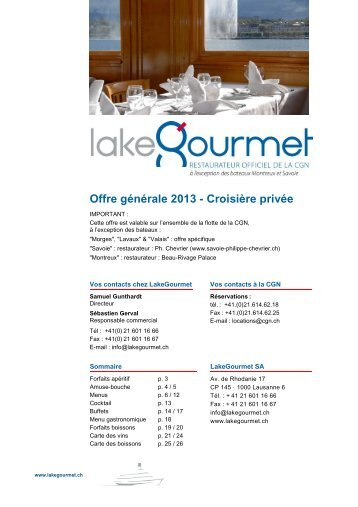 Offre 2013 Grand Bateau Fr - LakeGourmet