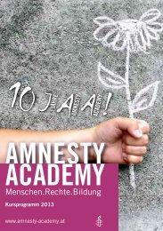 Kursprogramm 2013 - 10 Jahre Amnesty Academy