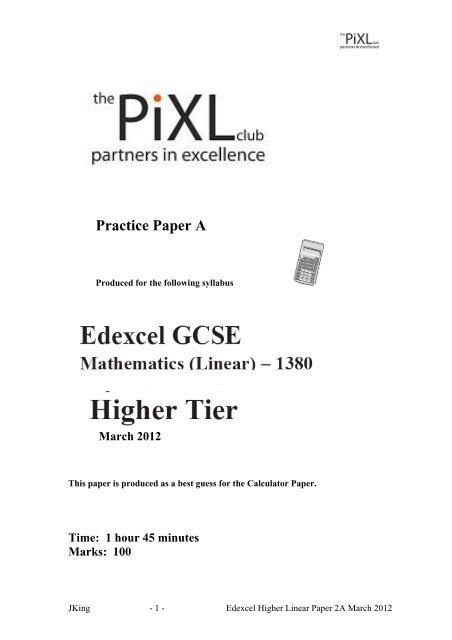 pixl maths papers june 2013
