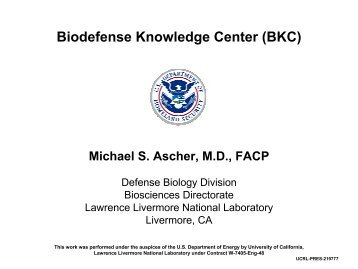 Biodefense Knowledge Center - Artificial Intelligence Laboratory