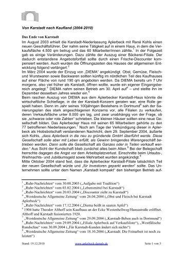 Von Karstadt nach Kaufland (2004-2010) Das ... - Aplerbeck damals