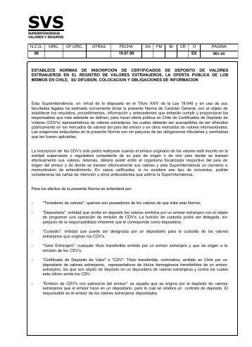 Normas de inscripción de Certificados de Depósito de Valores ...