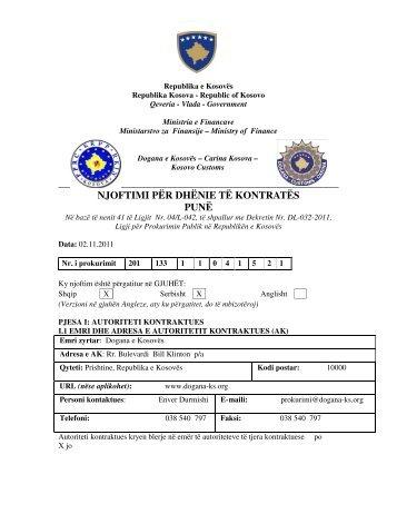 njoftimi për dhënie të kontratës punë - Dogana e Kosovës