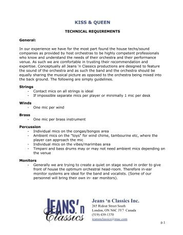 Technical Requirements - Jeans 'n Classics