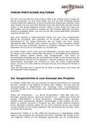 FORUM POETISCHER KULTUREN Zur Vorgeschichte & zum ...