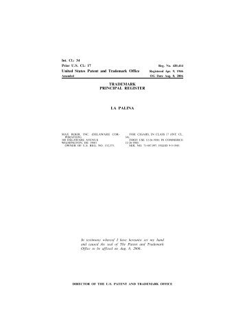 United States Patent and Trademark Office TRADEMARK PRINCIPAL